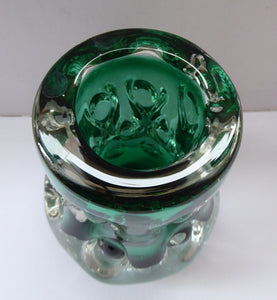 LISKEARD Glass Vase. Collectable Cornish Glass. Emerald Centre Cased with Thick Knobbly Clear Layer. Designed by Jim Dyer