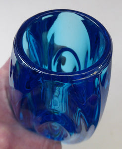 Vintage LENS or BULLET Vase (No. 914). Geometric Czech Art Glass by Rosice Glassworks, Sklo