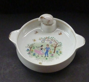 Heated Baby Bowl. VINTAGE FRENCH Limoges Dish with Singer Mark and Stamp. Shows Cute Couple Dancing in an Orchard