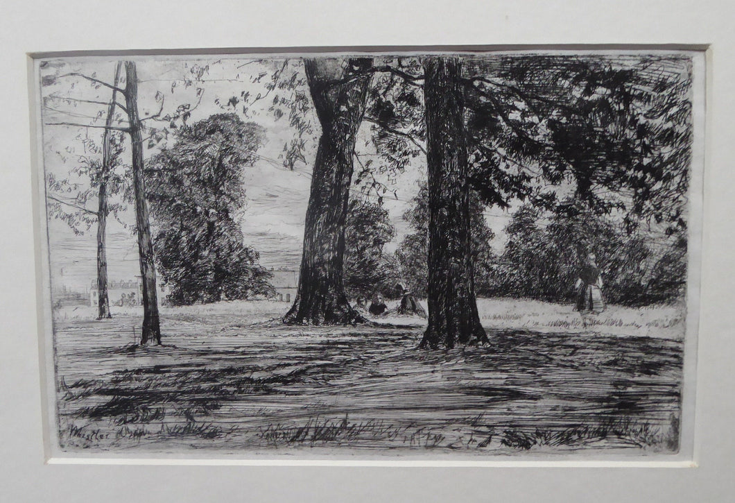 Original WHISTLER Etching. Greenwich Park (1859). Signed in the plate. Rare Second State Impression
