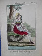 Load image into Gallery viewer, SWISS CANTONS. Regional Costume Studies. Four ANTIQUE 19th Century Hand Coloured Engravings