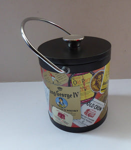 SCOTCH WHISKY Advertising Ice Bucket. Collectable 1960s Issue - with Whisky Advertisements Printed on the Outside. Lovely and clean