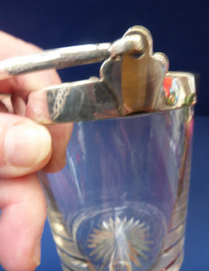Antique SILVER PLATE Miniature Ice Pail by John Grinsell. English Glass with Plates Rim Mount & Handle; c 1900
