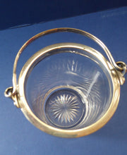 Load image into Gallery viewer, Antique SILVER PLATE Miniature Ice Pail by John Grinsell. English Glass with Plates Rim Mount & Handle; c 1900