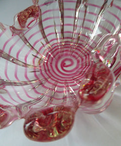 BAROVIER & TOSO; Vintage Murano Art Glass Grosse Costolature Clamshell Bowl and Spider's Web Design