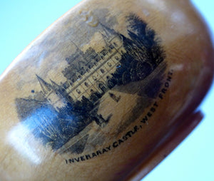 Antique 19th Century MAUCHLINE Ware Miniature Scottish Drinking Quaich. With Image of Inveraray Castle