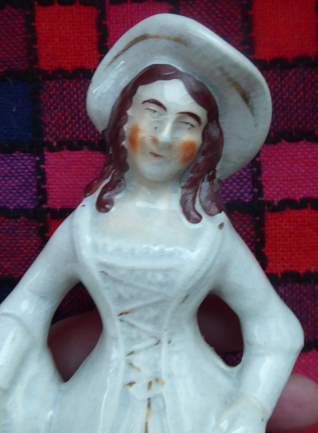 ANTIQUE Victorian Staffordshire Figurine. Highland Lady with Basket of Grapes