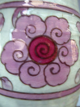 Load image into Gallery viewer, 1930s CROWN DUCAL Vase. Charlotte Rhead Design with Pink Tube Lined Flowers on a Mottle Grey Ground