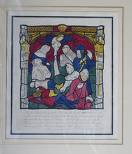 Load image into Gallery viewer, GEORGIAN Hand-Coloured Engraving; c 1805. Published by William Fowler. York Cathedral. Rare Medieval Stained Glass Window Print