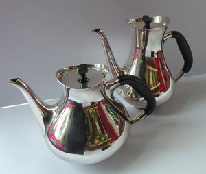DANISH Art Deco Style Cohr Tea Service.  1950s Vintage SILVER Plate (EPNS). Designed by Hans Bunde. Four Pieces in Set