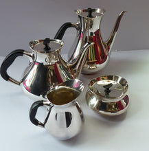 Load image into Gallery viewer, DANISH Art Deco Style Cohr Tea Service.  1950s Vintage SILVER Plate (EPNS). Designed by Hans Bunde. Four Pieces in Set