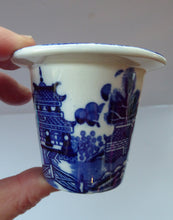 Load image into Gallery viewer, RARE 1920s ROYAL DOULTON Miniature Meat Pot. Flow Blue with Traditional Willow Pattern