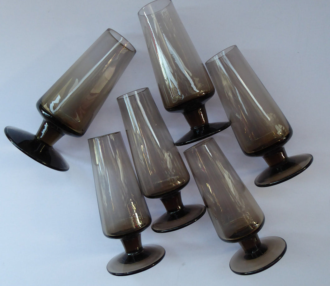 1960s STROMA. Classic Scottish CAITHNESS GLASS Peat Coloured Liqueur or Shot Glasses
