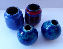 Load image into Gallery viewer, JOB LOT. Four Miniature West German Vases: Scheurich & Ruska. Mainly Blue Tones. All about 4 inches.