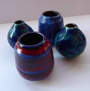 JOB LOT. Four Miniature West German Vases: Scheurich & Ruska. Mainly Blue Tones. All about 4 inches.