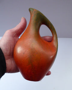 WEST GERMAN Ruscha Amorphic Vase with Handle - with interesting Vulcano Glaze. Height 6 1/2 inches