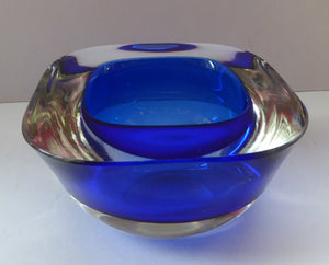 1960s MURANO Glass Bowl. Vintage Sommerso Geode Blue and Clear Glass Chunky Bowl. 4 inches diameter