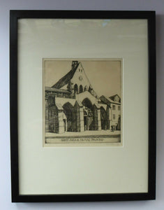 SCOTTISH ART. William Wilson (1905 - 1972). Saint Ayoul Church, Provins. ETCHING. Signed and Dated 1927