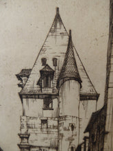 Load image into Gallery viewer, SCOTTISH ART. William Wilson (1905 - 1972). The Bell Tower of St Aignan Church, Chartres. ETCHING. Signed and Titled in Pencil
