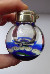 SCOTTISH GLASS. Vintage Caithness Glass Bulbous Glass Inkwell with Millefiori Canes and Thistle Decoration
