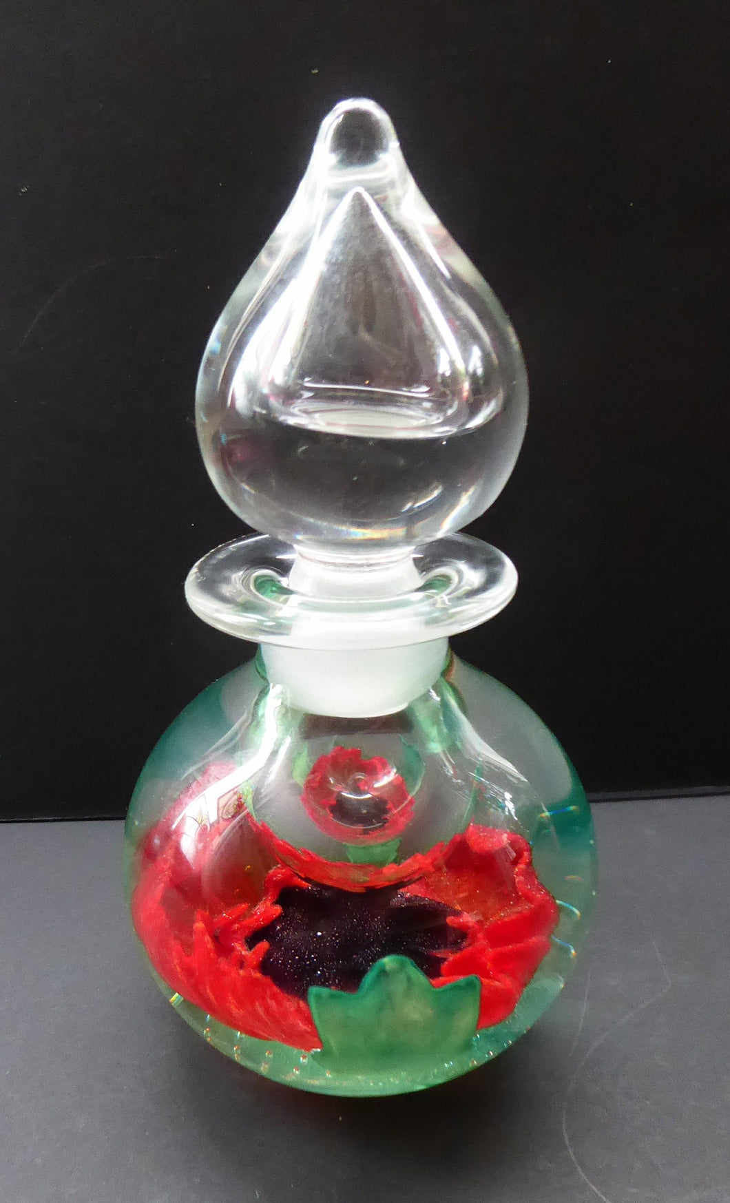 SCOTTISH GLASS. Vintage Caithness Glass Bulbous Perfume Bottle POPPY Design. Sultry Evening. Limited Edition