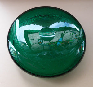 NORWEGIAN 1950s HADELAND Glass. Greenland Series LARGE Shallow Bowl or Platter. Designed by Arne Jon Jutrem. 9 3/4 inches