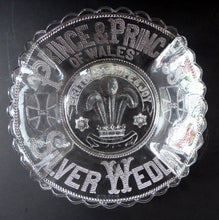 Load image into Gallery viewer, King Edward VII Silver Wedding Clear Pressed Glass Dish. 1863 - 1888. 8 1/2 inches. Rare Royal Memorabilia