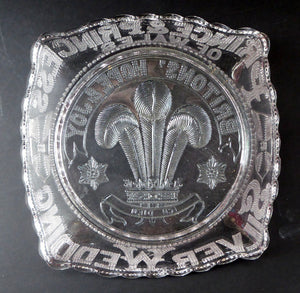 King Edward VII Silver Wedding Clear Pressed Glass Dish. 1863 - 1888. 8 1/2 inches. Rare Royal Memorabilia