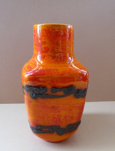 West German SCHEURICH Square Shaped Vase. Shiny Tangerine Orange Glazes: with Horizontal Lava Stripes 6 1/4 inches in heig