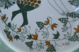 1960s DANISH PLATE by Figgjo Flint. Sicilia Design Featuring Girl with Grapes