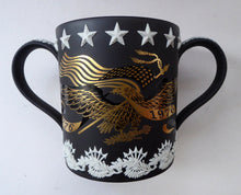 Load image into Gallery viewer, 1976 Wedgwood Black Basalt Jasperware American Bicentennial Loving Cup. LARGE RARE Size with Original Box & Certificate