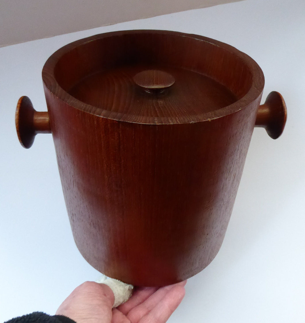 Vintage SCANDINAVIAN Heavy Teak Ice Bucket - with Lug Handles and Recessed Lid with Raised Knop. Good vintage condition; 1960s