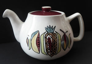 KITSCH 1960s Heavy Duty Rarer Large Teapot with Abstract Fruit Patterns. LANGLEY POTTERY. Good Condition
