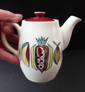 KITSCH 1960s Teapot or Coffee Pot with Abstract Fruit Patterns. LANGLEY POTTERY. Good Condition