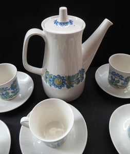 FIGGJO FLINT 1960s Norwegian Turi LOTTE Tor Viking Complete Coffee Set. Pot, Milk and Sugar, Six Cups and Saucers