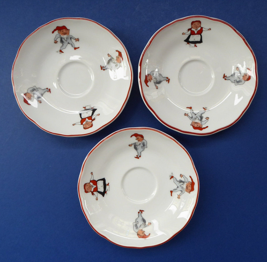 Vintage NORWEGIAN Porsgrund NISSE Elves or Gnomes THREE Spare Saucers. Dated 1993 on the base