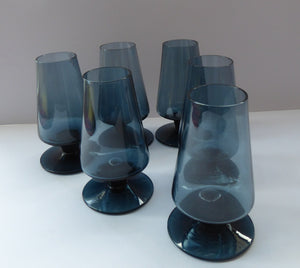 1960s STROMA. Classic Scottish CAITHNESS GLASS Twilight Coloured Liqueur or Shot Glasses