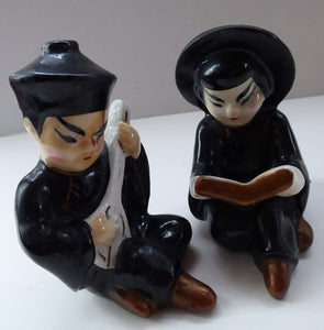 1950s Vintage Cruet Set. Sweet Little Ceramic Chinese Man and Girl Salt and Pepper Pots