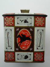 Load image into Gallery viewer, Quirky 1960s Vintage Toffee Tin by Edward Sharp & Son, Kent. Decorated with Stylised Images of Horses