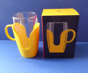FOUR Vintage Pyrex Tumbler Set. Original Card Boxes - Space Age Yellow and Red 1/2 pint Tumblers with plastic holders
