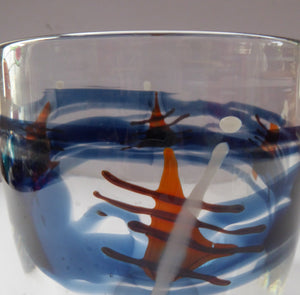 SCOTTISH STUDIO Glass. Unique Glass Bowl by Paul Musgrove. Signed and dated 1985