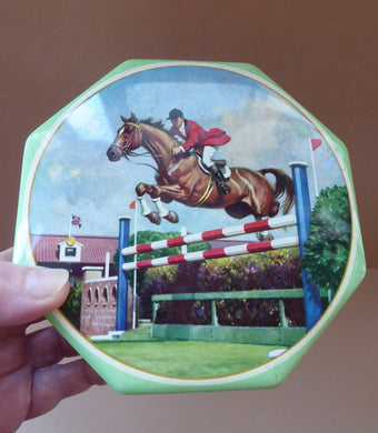 Horses Biscuit Tin. Show Jumping Image