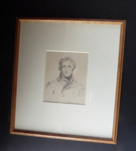 Fine 19th Century REGENCY Portrait Drawing of a Naval Officer. Pencil on Paper (framed). Unsigned