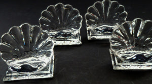 Baccarat Crystal Bambous Shell Menu Holders or Place Settings. Matching Set of Four