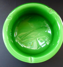 Load image into Gallery viewer, 1960s MURANO BOWL or Ashtray. Heavy Sommerso Glass. Very unusual with Lime Green Interior, White Exterior and Streaky Decorative Banding