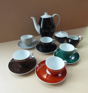 Vintage 1950s German Schonwald Porcelain Coffee Set in Harlequin Colours