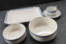 Load image into Gallery viewer, GERMAN ART DECO Waechtersbach Small Group of Cup & Saucer, Oblong Plate and Two Bowls:  with Simple Blue and White Checked Rim