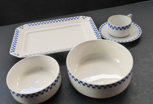 GERMAN ART DECO Waechtersbach Small Group of Cup & Saucer, Oblong Plate and Two Bowls:  with Simple Blue and White Checked Rim