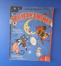 Load image into Gallery viewer, 1930s Nursery Rhymes Paperback Music Book with Fabulous Illustrations by Baz