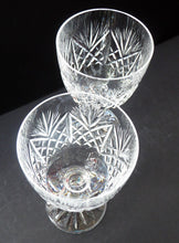 Load image into Gallery viewer, LARGE Pair of Vintage EDINBURGH CRYSTAL Wine Glasses. Iona Pattern. Etched mark for 1980s